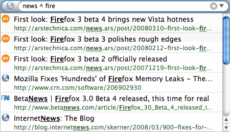 "Searching for ""news ^ fire"""