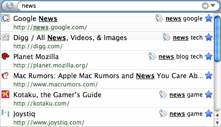 "Searching for ""news"""