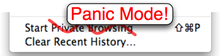 Panic Mode works just like Private Browsing except it shows your home page