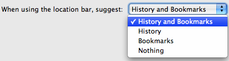 Choose what Firefox 3.5 can suggest from the Location Bar
